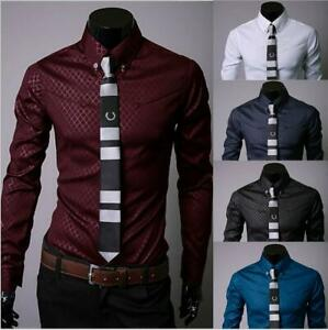 Men-039-s-Fashion-long-sleeve-casual-business-shirt-Dress-slim-fit-Solid-Shirts-tops