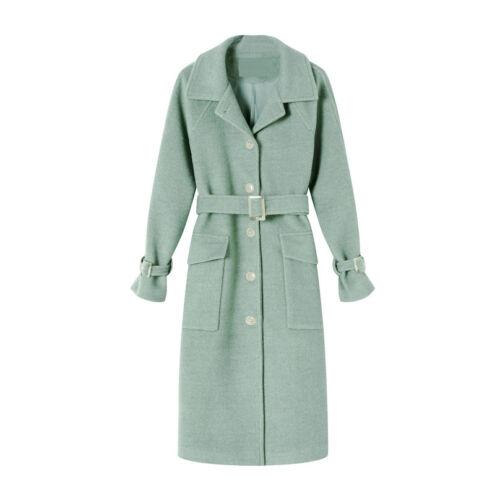 Kvinders Talje Coat Krave Nedtrædende Blend Loose Uld Lommer Belt Mode rXI6vxrnq