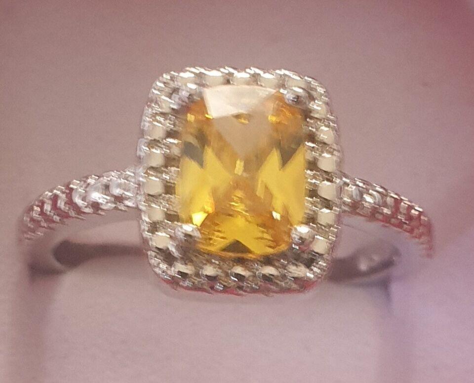 Ring, ædelsten, FIN Citrin krystal med Sterling