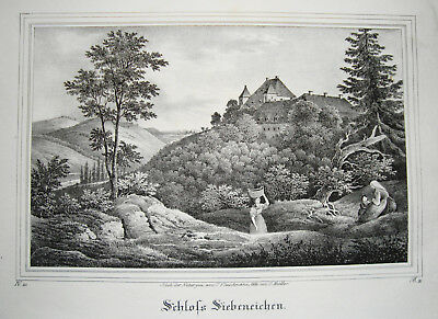 Herrlich Schloß Siebeneichen Meißen Sachsen Alte Lithographie Aus Saxonia 1835-1841 Bequem Zu Kochen
