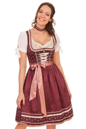 Krüger Damen Midi Dirndl Trachten Kleid bordeaux 60cm 2tlg Jacquard Seide Punkte