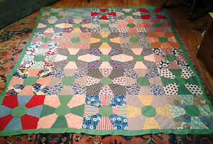 Vintage Mid Century Quilt Topper Green Boarder Multi Colored Unfinished