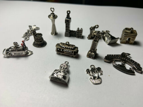 Vintage Lot of Sterling Silver Travel Charms, 13 t