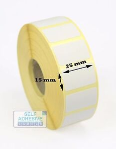 Details about 25mm x 15mm Direct thermal labels for Zebra GK420D, GX420D,  GK420T, GX420T, Z6M