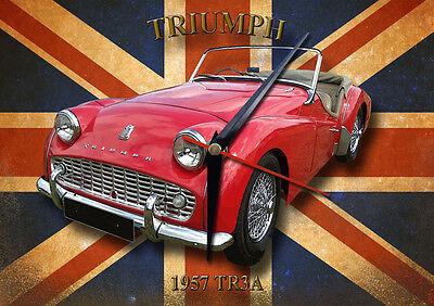 CLASSIC BRITISH TRIUMPH TR3A METAL CLOCK