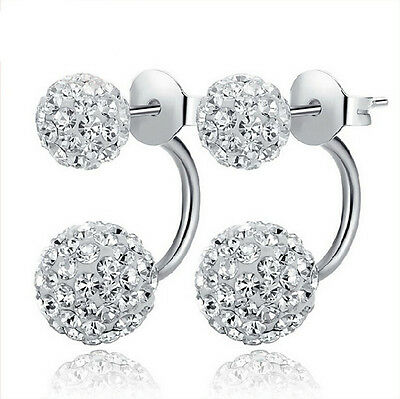 Women Fashion Jewelry 925 Sterling Silver Double Beads Full Crystal Stud Earring