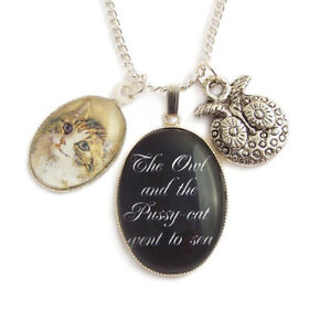 OWL-and-the-PUSSY-CAT-charm-silver-necklace-fairytale-fairy-tale-Edward-Lear
