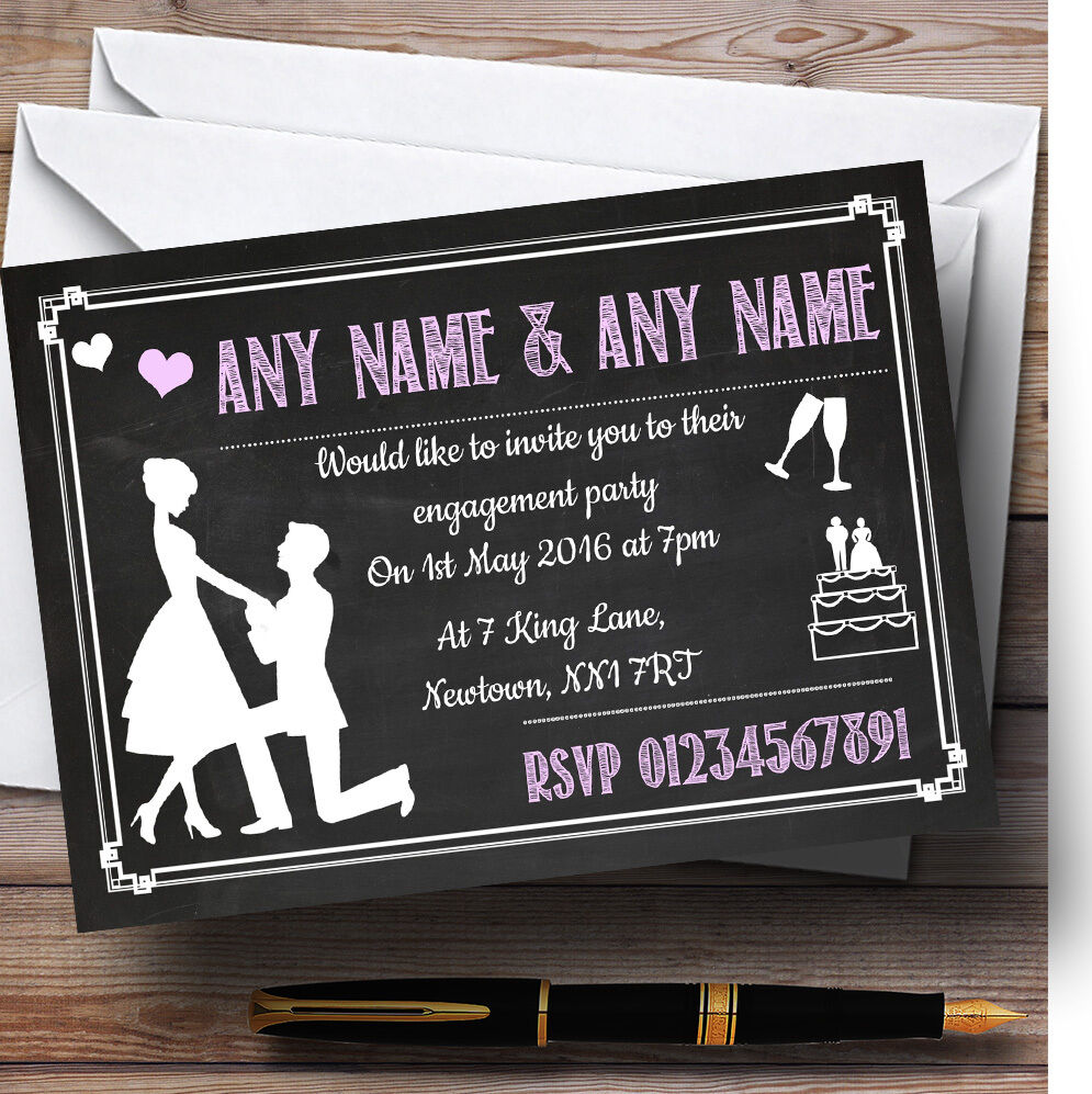 Chalkboard Rosa Personalised Engagement Engagement Engagement Party Invitations 7b0c6d