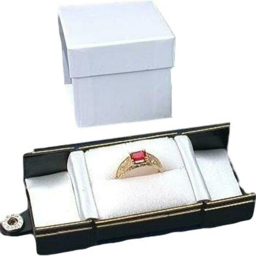 6 Black Leatherette Snap Closure Ring Boxes Displays