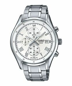 BEM-512D-7A-White-Casio-Men-039-s-Watches-Stainless-Band-Chronograph-Beside-New
