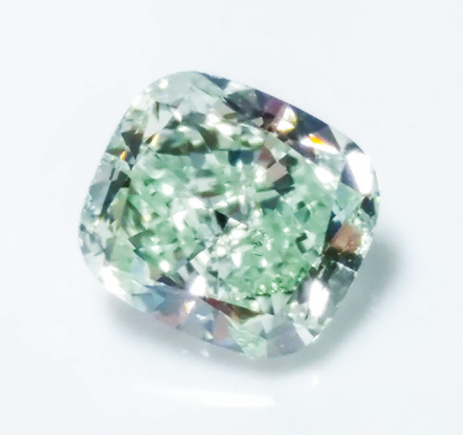 Green Diamond - 0.51ct Natural Loose Fancy Light green color GIA Cushion SI1