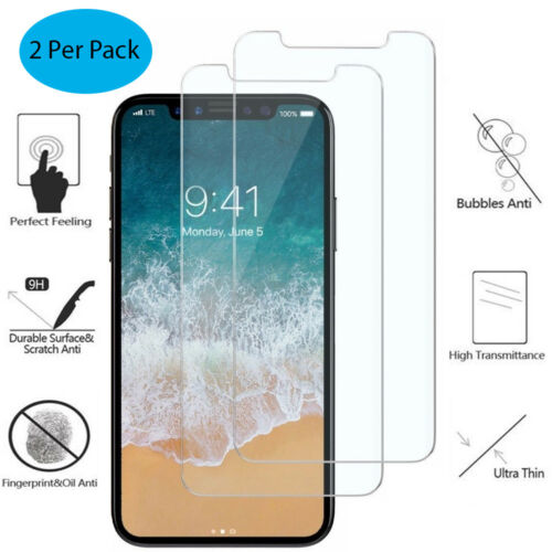 Tempered Glass Screen Protector For Apple iPhone 10 / X / Xs Crystal Clear Thin