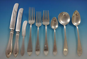 Pointed-Antique-Engraved-Dominick-amp-Haff-Sterling-Silver-Flatware-Service-Set