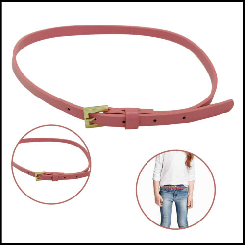 Girls PU Leather Belt Stylish Gold Pin Buckle Wide Waistband Fashion Accessory