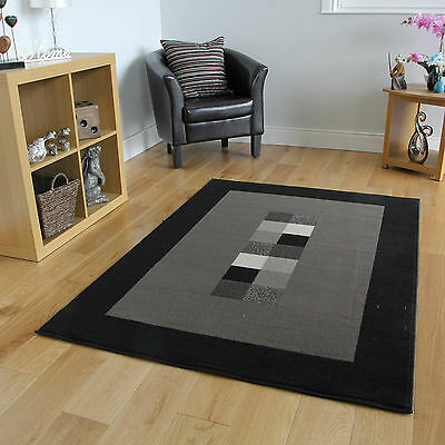 Modern Grey Patterned Fireplace Carpet Mat Soft Non Shed Bordered Black Area Rug