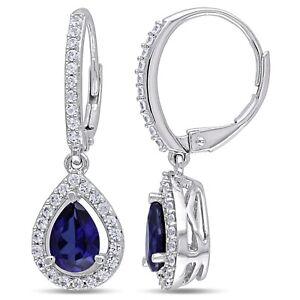 Sterling Silver 2 7/8 CT TGW Blue and White Sapphire Teardrop Leverback Earrings