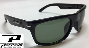 NEW Peppers Eclipse Black G15 Grey Polarized Mens Sport Wrap Sunglasses Msrp 35