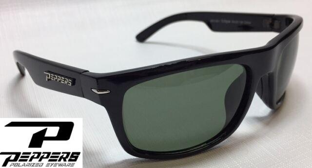 2adbb774d8 NEW Peppers Eclipse Black G15 Grey Polarized Mens Sport Wrap Sunglasses  Msrp 35