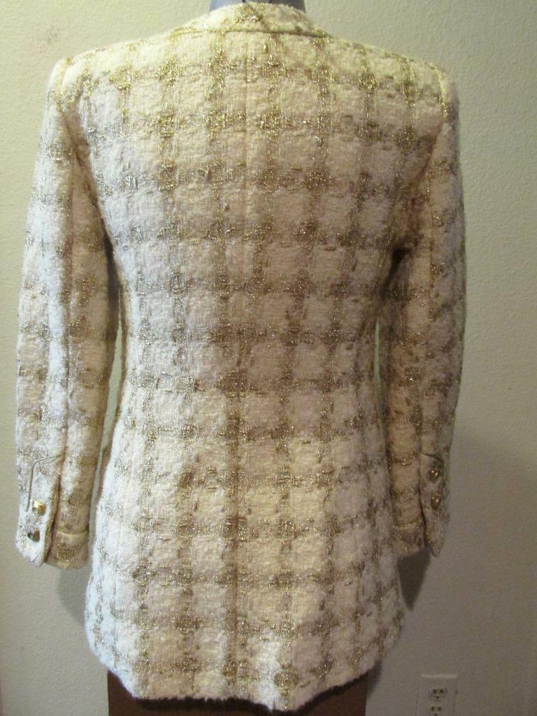 Vintage TRAVILLA Ivory & Gold Tunic Jacket 8 Beau… - image 3
