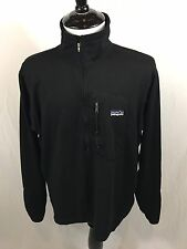 Vintage Patagonia Regulator Fleece Jacket Men's Large Black Half Zip Made In USA