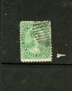 CANADA 1859 12 &HALF-CENT GREEN (USED-HINGED) CAT. VALUE $150++