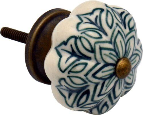 Ceramic Door Knobs Cabinet Drawer Handle Set Dark Green x12 Vintage Flower