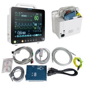 "Multi-parameter 12"" Vital Sign Patient Monitor ECG NIBP RESP TEMP SPO2 PR NEWEST"