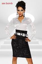 SEXY elegante GONNA business longuette+CINTURA 40/42 44/46 Nero/Argento GLAMOUR