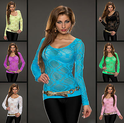 Damen Mesh Langarm Bluse Durchsichtig Party Freizeit Crop Tops Shirts Gr.34-38