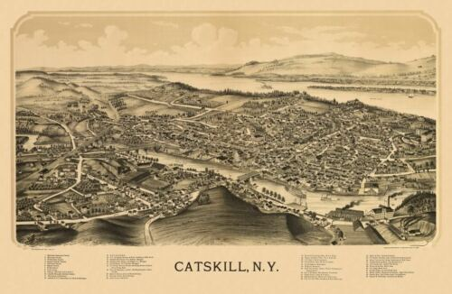 24x36 Vintage Reproduction Historic Map Catskill New York Greene County 1889