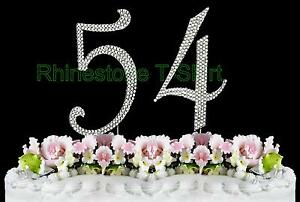 Image Is Loading Large Rhinestone Number 54 Cake Topper 54th Birthday