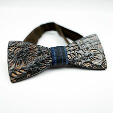 OKTIE wooden bow tie hand made classic gift for man Burned Black floral