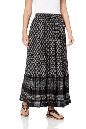 Roman Originals Women/'s Black Aztec Tiered Maxi Skirt Sizes 10-20