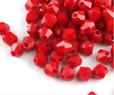 Free shippin100pcs 4mm swarovski crystal 5301# Bicone Beads, porcelain red