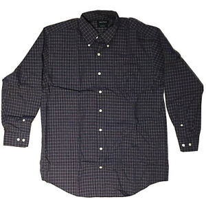 Nautica-Mens-16-32-33-Large-Shirt-Navy-Plaid-Non-Iron-Long-Sleeve-Button-Front