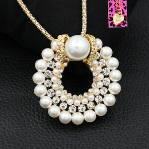 Betsey-Johnson-Women-039-s-Pearl-Crystal-Round-Pendant-Chain-Necklace-Brooch-Pin