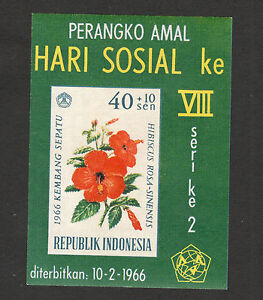 INDONESIA-MNH-BLOCK-FLORA-FLOWERS-Flora-Hibiscus-Social-Day-1966