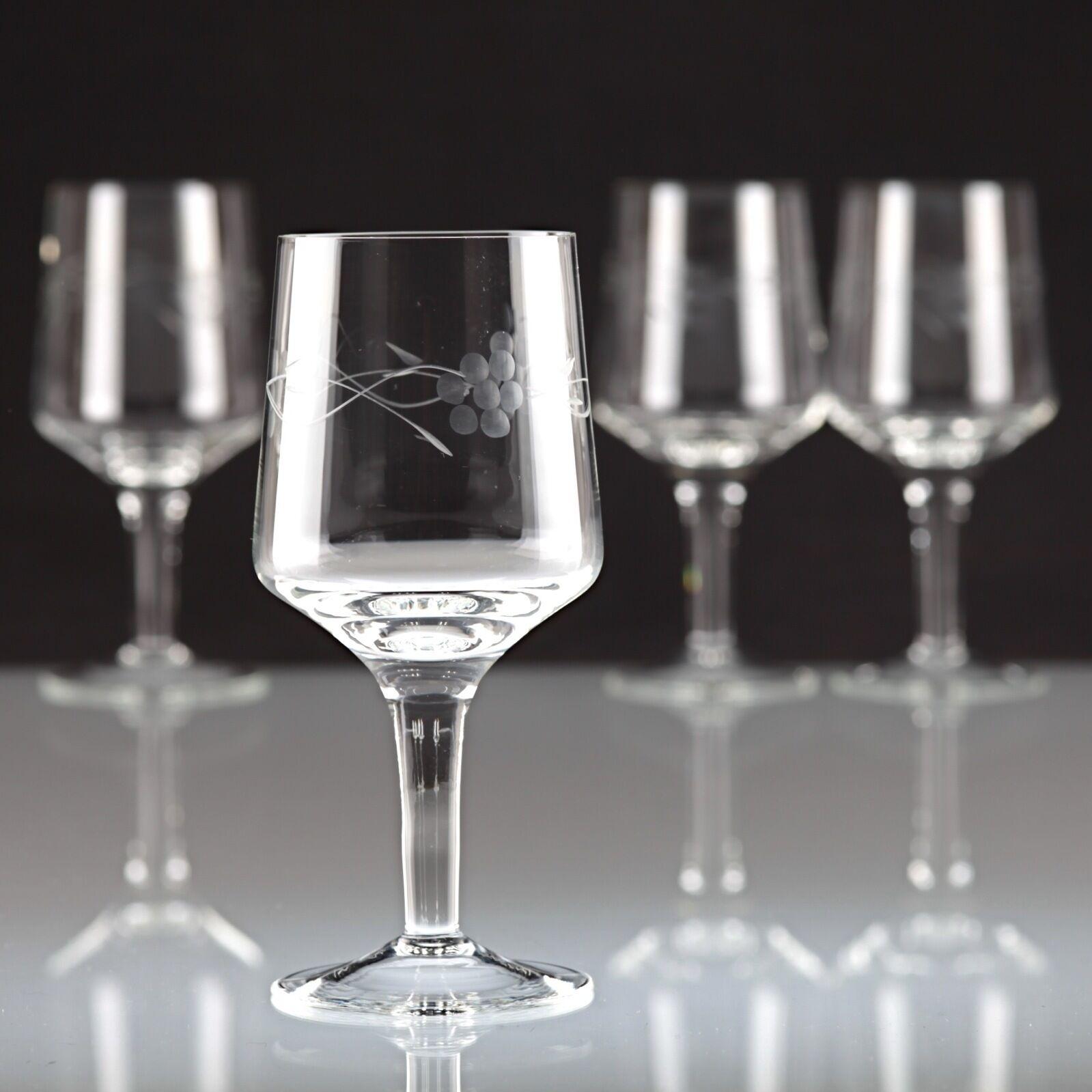 4 Vintage Weingläser Blaumen Gravur Kristall Glas Weißwein Gläser  30er K13 | Ermäßigung