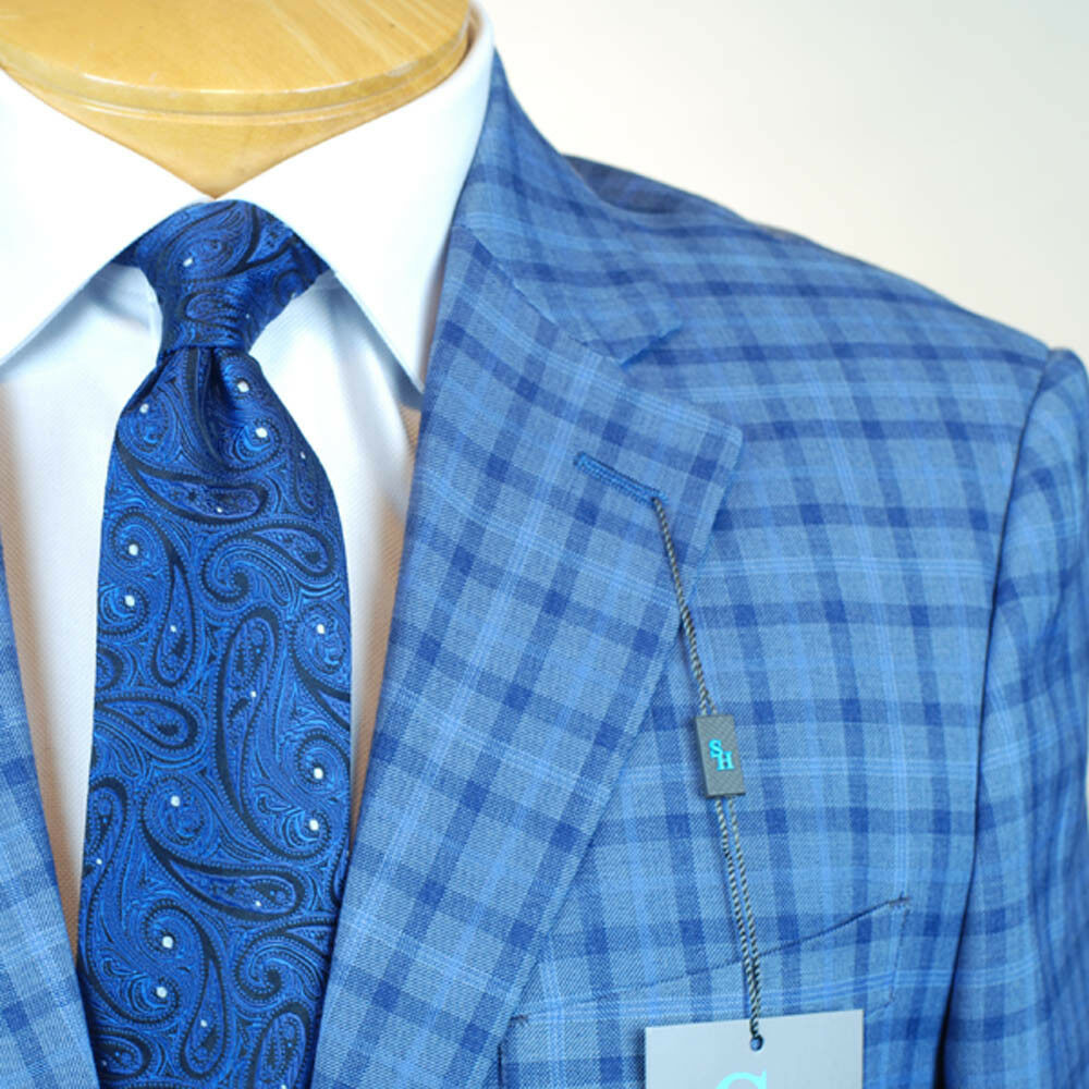 54L STEVE HARVEY Blau Plaid SUIT SEPARATE  54 Long  Herren Suits - SS39