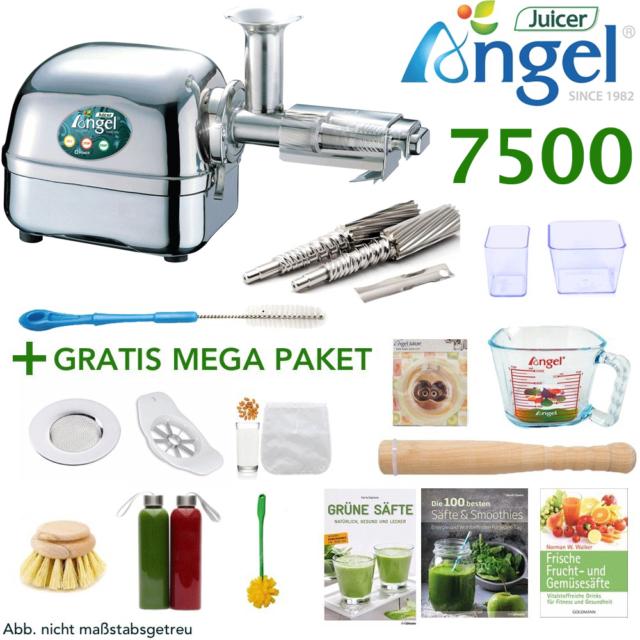 Angel Juicer 7500 Entsafter Edelstahl Saftpresse + 12-teiliges GRATIS MEGA-Paket