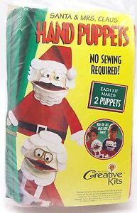 Kids-Christmas-Craft-Kit-Santa-and-Mrs-Claus-Puppets-Easy-No-Sewing-New