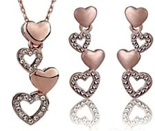 HEARTS 18K Rose Gold Filled Swarovski Crystal Earrings & Necklace Jewelry Set