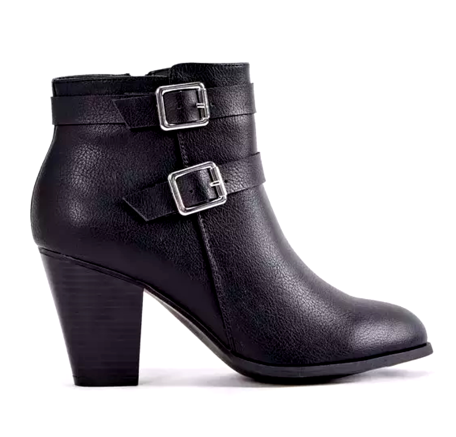 JustFab Camia Womens UK 4 Black Faux Leather Zip Up 3  High Heel Ankle Boots NEW