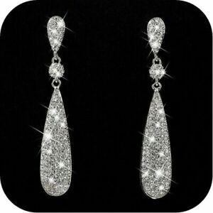 2021 Chic Crystal Mermaid Drop Earrings Stud Flower Women Wedding Jewelry Gifts