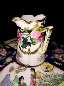 Antique-Hand-Painted-Gold-Encrusted-Nippon-Pitcher