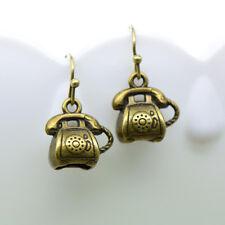 Telephone Earrings, Antique Bronze Finish Vintage Style Charm Pendant Earring