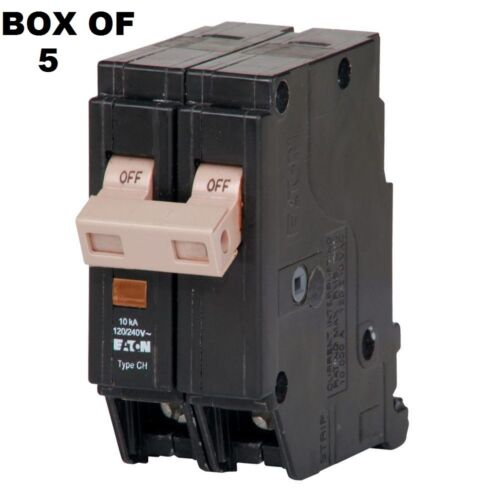Box of 5 Eaton CHF225 25A Circuit Breakers, 2 Pole, 120240VAC BRAND NEW