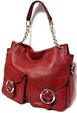 OROTON soft pebble grain red Leather Shoulder Bag Handbag Chain Tote EC! rrp$595