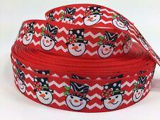 """BTY 7/8"""" Red Snowman Chevron Christmas Grosgrain Ribbon Hair Bow Lisa"""