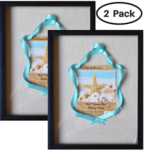 """(2-Pack) 12x15"""" Display Shadow Box Frame with Linen Background and 8 Stick Pins"""